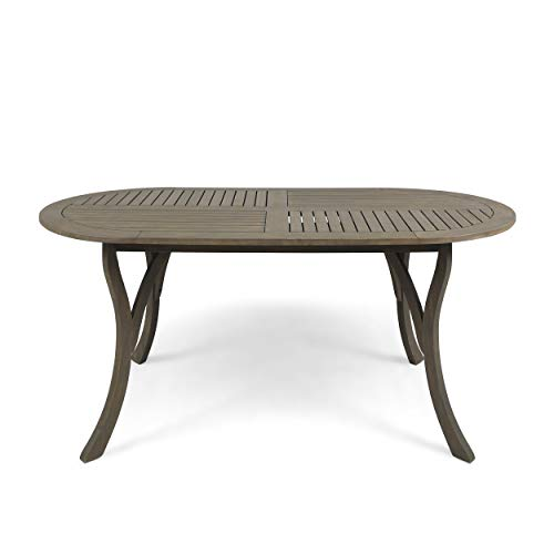 Christopher Knight Home 305157 Baia Outdoor Acacia Wood 70″ Oval Dining Table, Gray, Finish