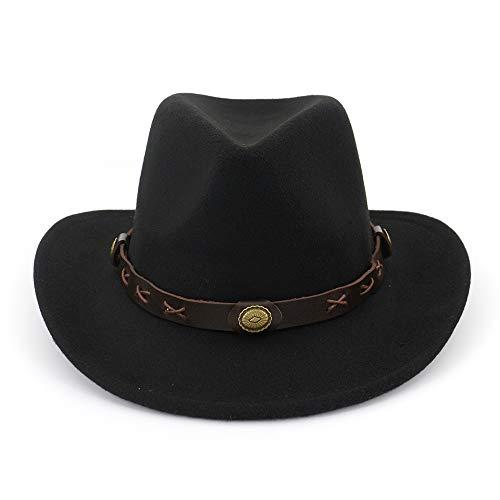 (Women Western Outback Cowboy Style Wide Brim Unisex Black Fedora Hat with Belt)