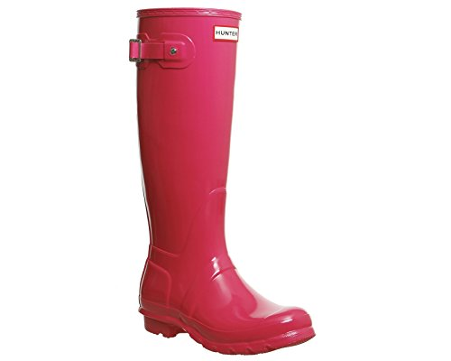 Hunter Damen Original Tall Regen Boot, Schwarz Glanz, 8 B (M) US Leuchtend rosa