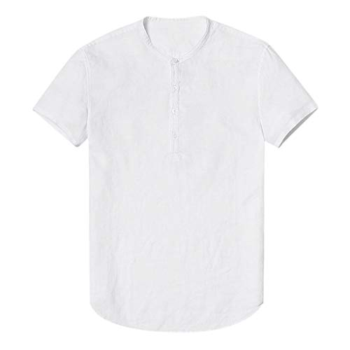 (Realdo Mens Cotton Linen Camis,Short Sleeve T-Shirt,Men's Baggy SOID Soft Casual O-Neck Tops Blouse White)