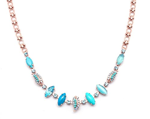 Mariana M2672 Bliss Aqua Mixed Leaf Swarovski Rose Gold Plated Necklace 17 -20