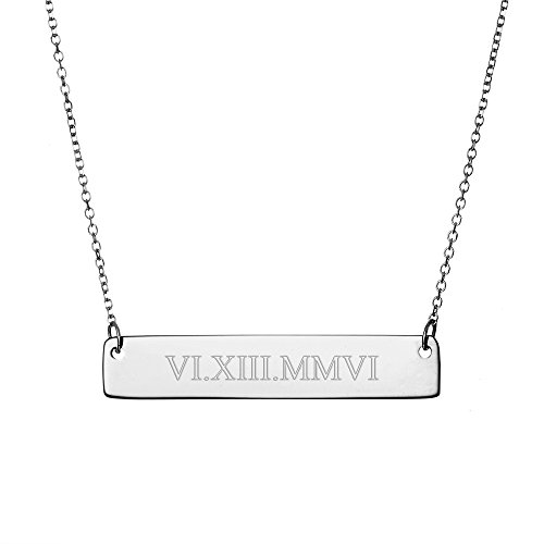 - Sterling Silver Custom Roman Numeral Bar Necklace (16 inches)