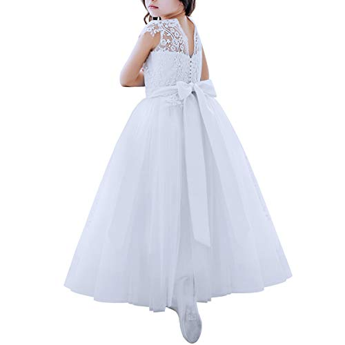 (White Flower Girls Dresses Lace Bridesmaid A line Tulle Wedding First Communion Princess Pageant Party Gown 2-13Y)