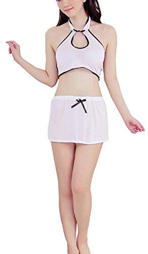 Paplan Mujer Halter sujetador y minifalda conjunto uniforme del traje de la ropa interior exótica Blanco