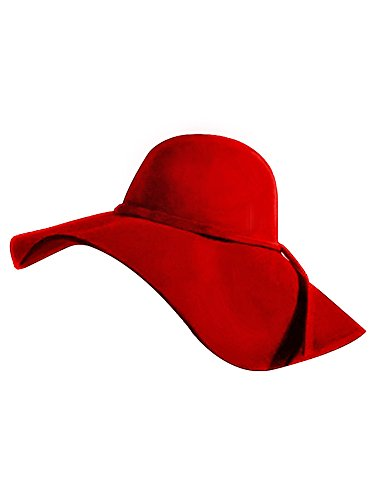 Red Wool Large Hat Brim (Luxury Divas Red Wide Brimmed Wool Floppy Hat)