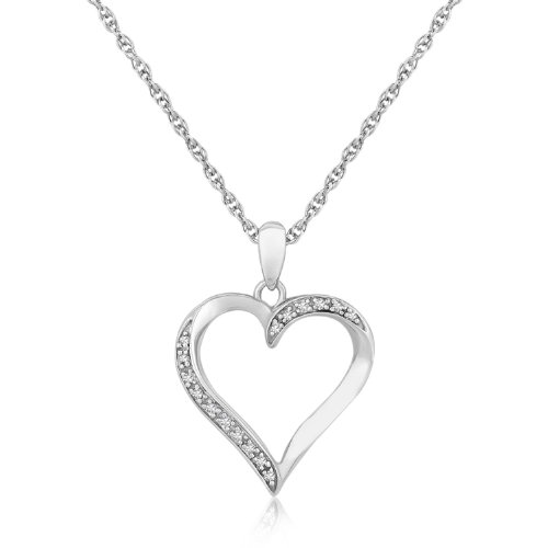 Sterling Silver Twisted Open Heart Diamond Accented Pendant (.04 ct (0.04 Ct Tw Diamond)