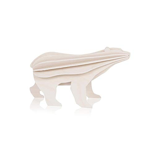 LOVI Small Polar Bear 3D Puzzle - White Wooden Creation from Finland
