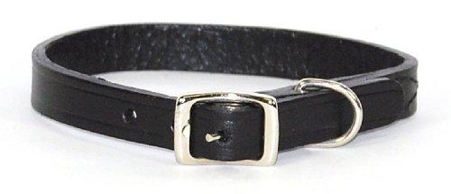 "Hamilton 1/2"" x 14"" Creased Black Leather Dog Collar"