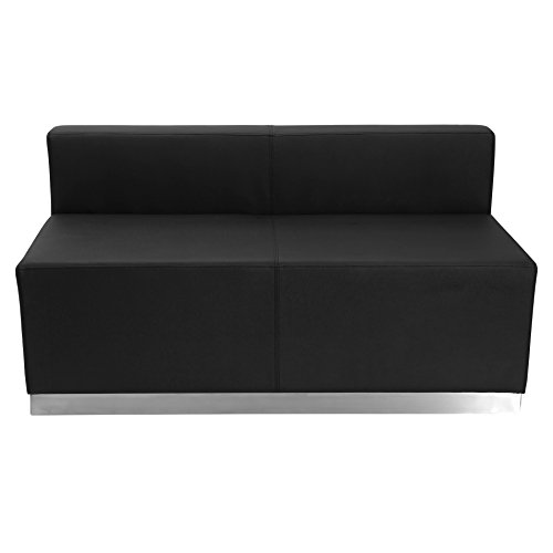 Black Modern Leather Loveseat (Flash Furniture HERCULES Alon Series Black Leather Loveseat with Brushed Stainless Steel Base)