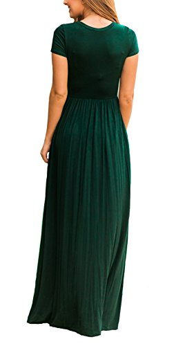 Euovmy Women's Round Neck Short Sleeve Maxi Dresses Casual Long Dresses with Pockets Dark Green X-Large