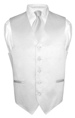 Men's Dress Vest & NeckTie Solid SILVER GRAY Neck Tie Set for Suit or Tux sz L (Necktie Suit)