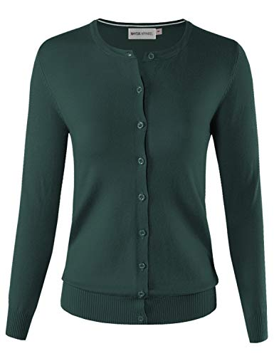MAYSIX APPAREL Long Sleeve Lightweight Button Down Round Neck Knit Sweater Cardigan For Women TEAL M
