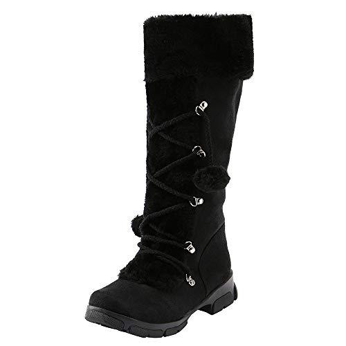 Fermeture Laine Chaussures Femme Bottes Talon De Susenstone Eclair Neige Chaudes Mode En Daim Hiver Plates Carre Coton Sexy Noir qdavYdwt