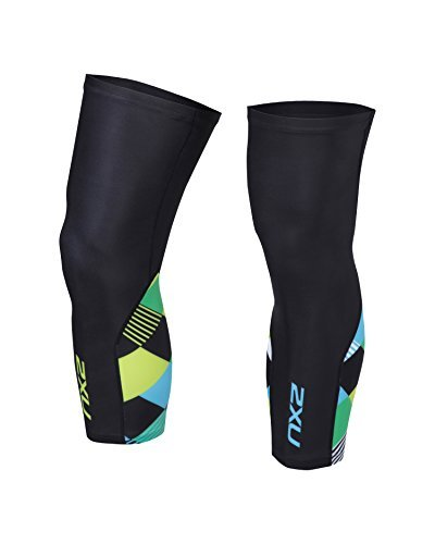 2XU Unisex Cycle Knee Warmers Black/Green Shapemania M & Headband Bundle