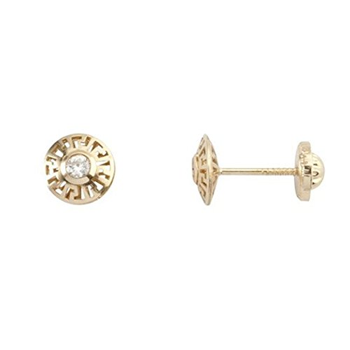 Boucles d'oreilles 18k boucles d'oreilles en or zircone ronde vis 2mm ajourés. [5271]