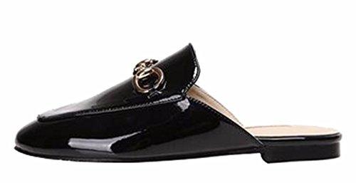 Closed on Comfort Flat Slip Patent Shoes Casual Summer Toe Slippers Sandals Jiu du Pu Black Women's nHqxBXA