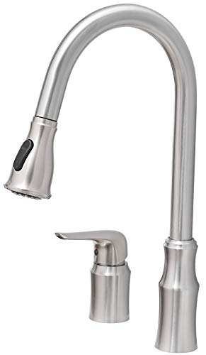 Farmhouse Kitchen Kitchen Sink Faucet with Pull Down Sprayer,FYRLLEU Commercial Single Handle Kitchen Faucets 2 Hole for Kitchen/Laundry… farmhouse sink faucets
