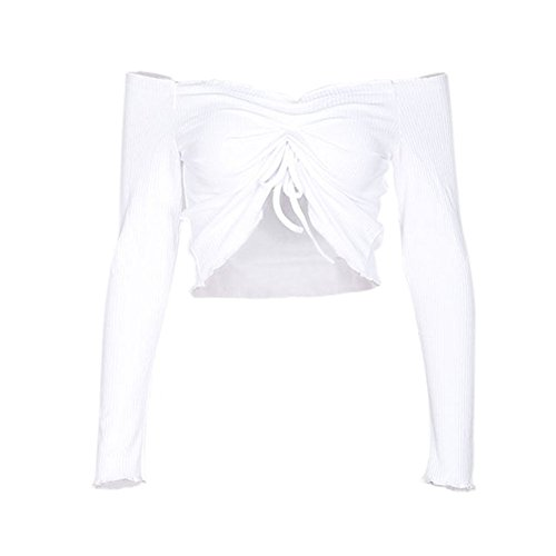 Shoulder Blouses Girls Xinvision Off Sleeve Tshirts Long Short Womens Tank Sexy Tops Corp Ladies White FXWE7qE