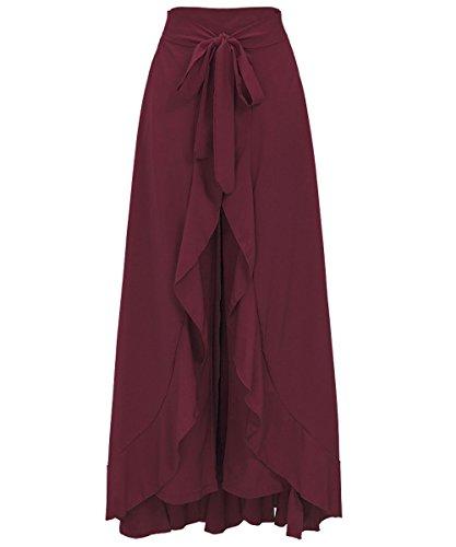 Rosso Signore Irregolare Lunga Vita La Pantaloni Alta Festa Vino Arruffato Vestito Chiffon Gonna Donne Misschicy Culottes Rw7qgZ7