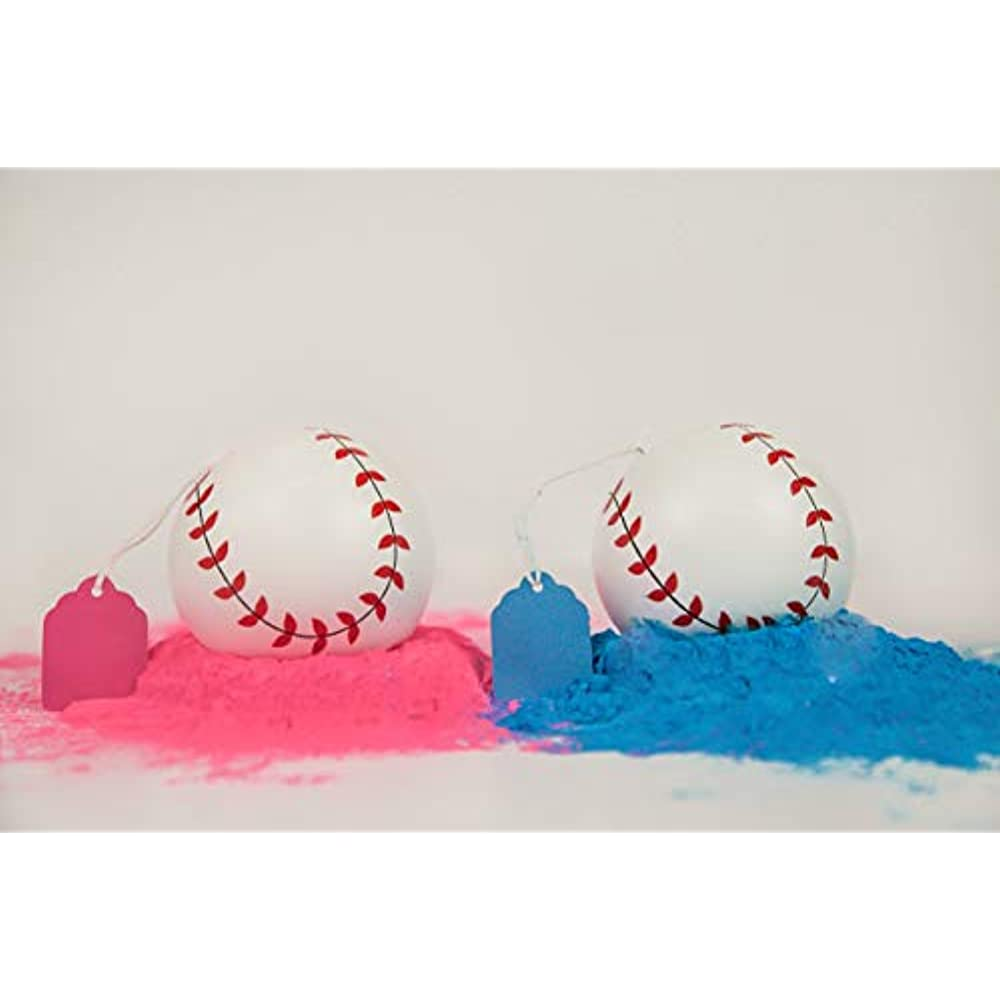 Exploding Set for Boy or Girl Baby Gender Reveal Baseballs Pink and Blue Balls
