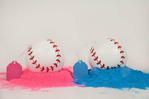 2 Gender Reveal Exploding Baseballs Set Pink and Blue Powder, Sex Reveal Party - Team Pink Girl and Team Blue Boy - Loaded With MORE Powder! (1 Pink & 1 Blue Ball)]()