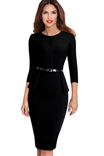 (MisShow Women's 3/4 Sleeve Work Wear Dress Peplum Pencil Party Dress with Belt Black XL)
