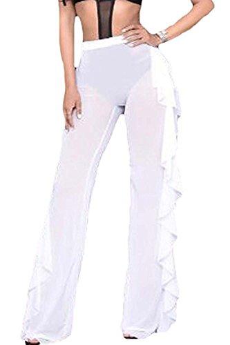 569dbd9747 Doqcey Women's Perspective Sheer Mesh Ruffle Pants Swimsuit Bikini ...
