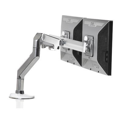 Polished Clamps (Humanscale M8 Arm with Crossbar Clamp Mount, Polished Aluminum with White Trim)