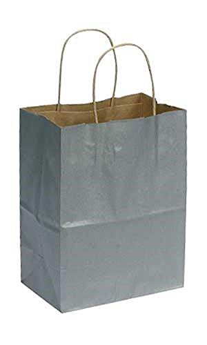 "Medium Metallic Silver Paper Shopping Bags - 8"" x 4 3/4"" x 10 1/4"" Case of 100 by STORE001"