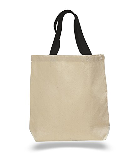 (Set of 12) 12 Pack- Wholesale Cotton Canvas Gusset and Contrasting Handles Tote Bag (Black)