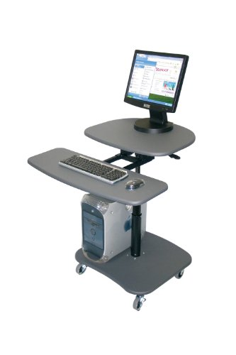 Multimedia Mobile Workstation - Offex Mobile Hydraulic Adjustable Height Multimedia Computer Desk Workstation Carts Stand