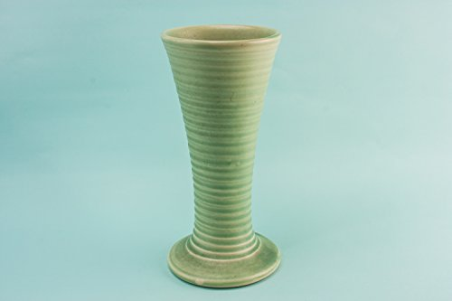 Green Pottery VASE Ribbed Beaker Gift Modernist Vintage Tall Unique Rare English 1970s LS