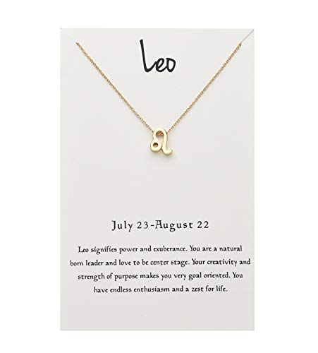 - ForeveRing Z Message Card 12 Constellations Necklace Leo Pendant Necklace 12 Zodiac Sign Tag Pendant Birthday Gifts Woman Jewelry