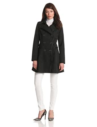 Via Spiga Women's Water Resistant Spring Coat With Patent Trim and Corset Back Detail, Black, Medium