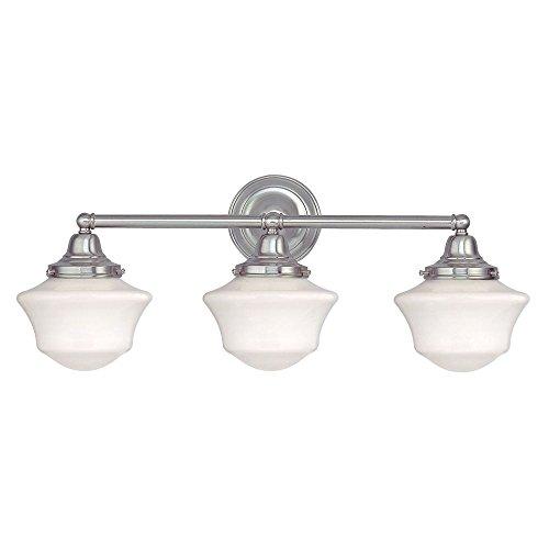 School house lighting amazon schoolhouse bathroom light with three lights in satin nickel aloadofball Choice Image