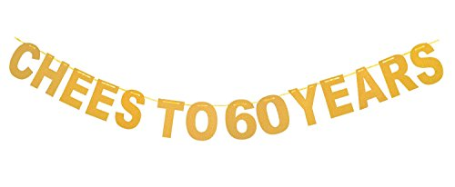 Qibote Gold Glitter Cheers to 60 Years Banner for 60th Birthday Party, 60 Wedding Anniversary Party Decorations