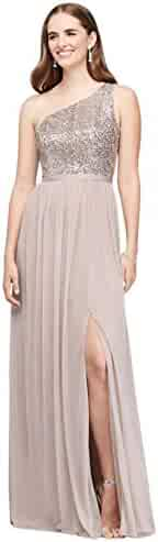 46e0580ad1f David s Bridal Sequin and Mesh One-Shoulder Bridesmaid Dress Style F17063S