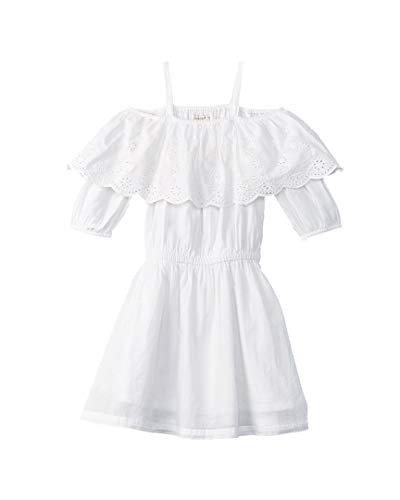 Ella Moss Girls' Big Shoulder Peasant Dress, White 14 -