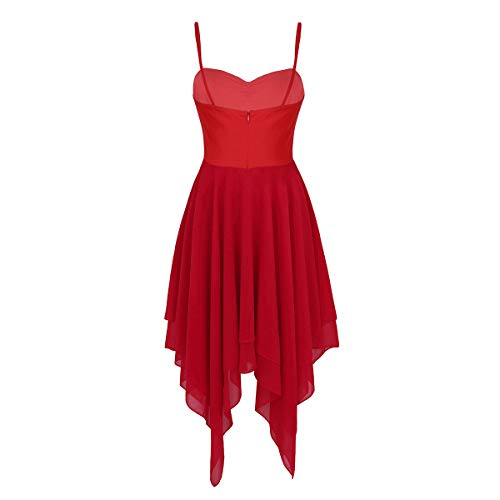 Gimnasia Gasa Falda Maillot Ropa Baile Agoky Mujer Rojo Traje de Ballet de de Danza Elástico Leotarto Vestido Clásico U0xxAqwIO