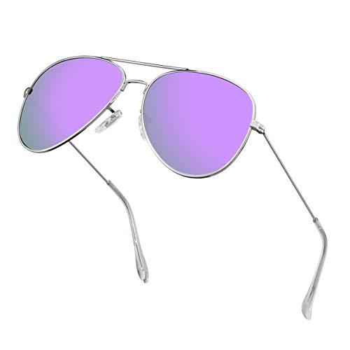 Polarized Aviator Sunglasses for Men/Women Metal Mens Sunglasses Driving Sun Glasses (Purple Lens/Silver Frame) -