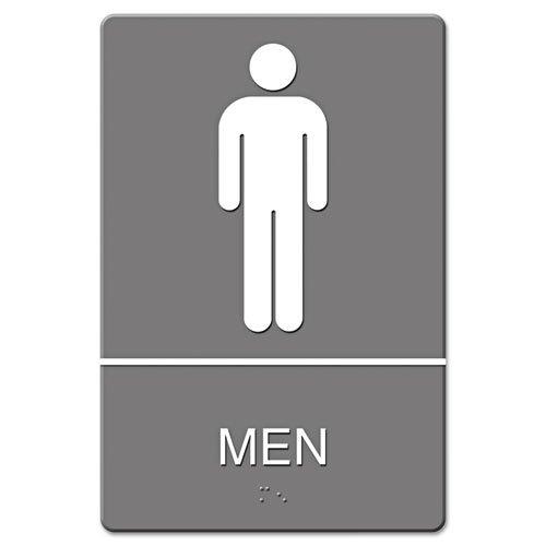 Headline Sign - ADA Sign, Men Restroom Symbol w/Tactile Graphic, Molded Plastic, 6 x 9, Gray 4817 (DMi EA
