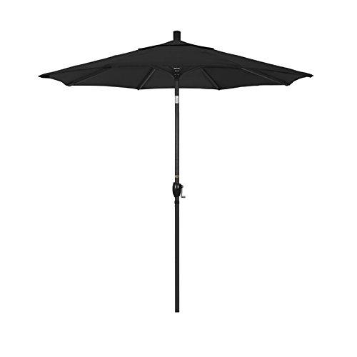 California Umbrella 7.5' Round Aluminum Market Umbrella, Crank Lift, Push Button Tilt, Black Pole, Sunbrella Black