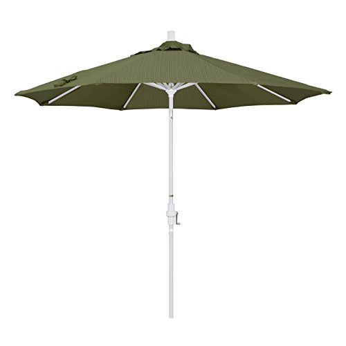 California Umbrella 9' Round Aluminum Market Umbrella, Crank Lift, Collar Tilt, White Pole, Terrace Fern Olefin