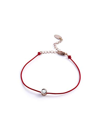 Zodaca Red Rope Adjustable Friendship & Lucky Bracelet with Zircon for Women & Girls