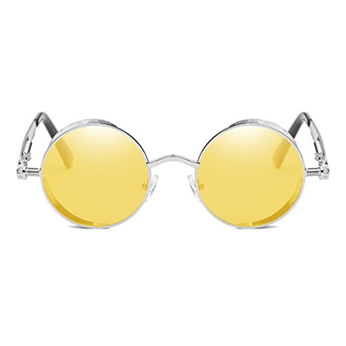 Armear Gothic Steampunk Round Mirrored Sunglasses Women Men Trendy Metal Frame (Yellow, - Glasses See Through Frames