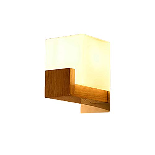 Snow Milk Glass - AMBERLIGHT Modern Wood Square Wall Sconces Lights Fixtures Milk White Glass Wall Lamps