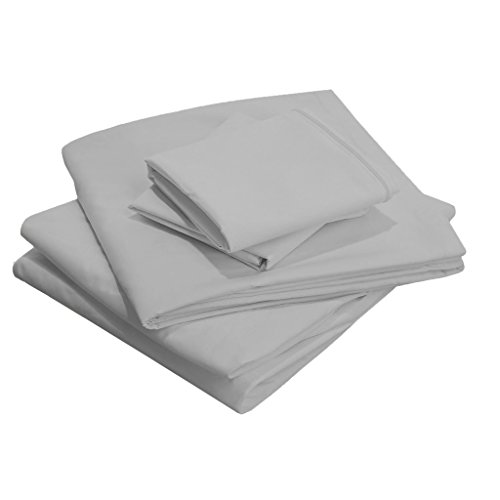 28 Inch Deep Pocket 100% Cotton 800 thread count King Size Solid Sheet Set Light Gray