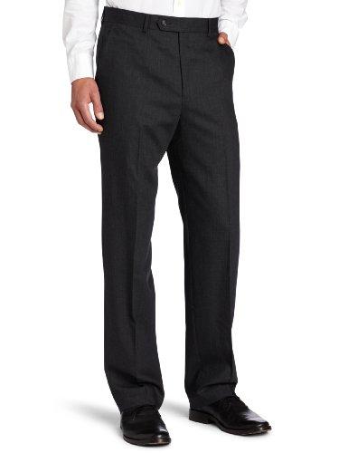 Corcini Men's Performance Flat Front Pant, Charcoal, 42x32 ()