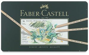 Faber-Castel FC112136 Pitt Pastel Pencils in A Metal Tin (36 Pack), Assorted