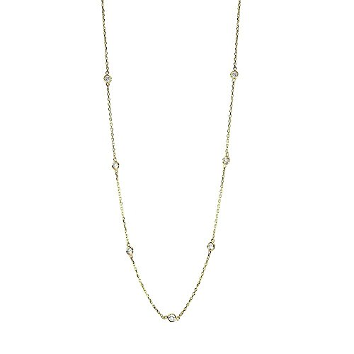 Handmade 14K Yellow Gold Station Necklace With .70 Carats Of Diamonds 16 - 18 Inches by amazinite